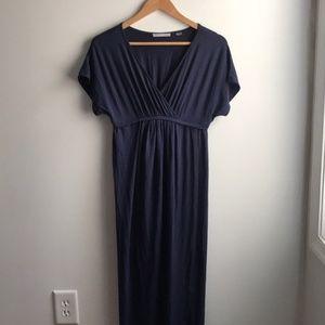Tart navy blue soft jersey wrap maxi dress